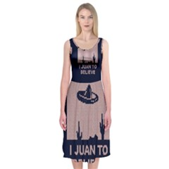 I Juan To Believe Ugly Holiday Christmas Blue Background Midi Sleeveless Dress