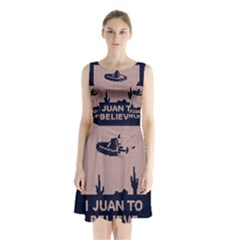 I Juan To Believe Ugly Holiday Christmas Blue Background Sleeveless Chiffon Waist Tie Dress