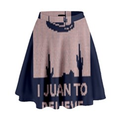 I Juan To Believe Ugly Holiday Christmas Blue Background High Waist Skirt
