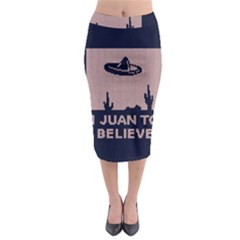 I Juan To Believe Ugly Holiday Christmas Blue Background Midi Pencil Skirt
