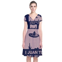 I Juan To Believe Ugly Holiday Christmas Blue Background Short Sleeve Front Wrap Dress