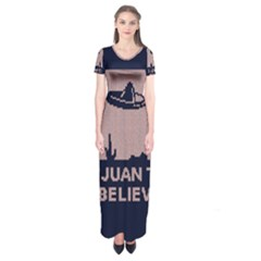 I Juan To Believe Ugly Holiday Christmas Blue Background Short Sleeve Maxi Dress