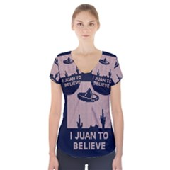I Juan To Believe Ugly Holiday Christmas Blue Background Short Sleeve Front Detail Top
