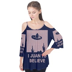 I Juan To Believe Ugly Holiday Christmas Blue Background Flutter Tees
