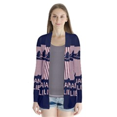 I Juan To Believe Ugly Holiday Christmas Blue Background Drape Collar Cardigan