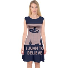 I Juan To Believe Ugly Holiday Christmas Blue Background Capsleeve Midi Dress