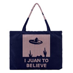 I Juan To Believe Ugly Holiday Christmas Blue Background Medium Tote Bag