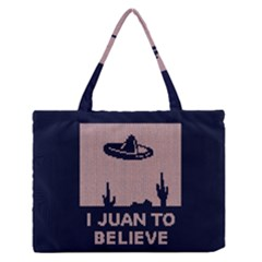 I Juan To Believe Ugly Holiday Christmas Blue Background Medium Zipper Tote Bag