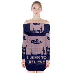 I Juan To Believe Ugly Holiday Christmas Blue Background Long Sleeve Off Shoulder Dress