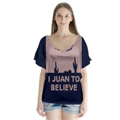 I Juan To Believe Ugly Holiday Christmas Blue Background Flutter Sleeve Top