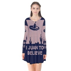 I Juan To Believe Ugly Holiday Christmas Blue Background Flare Dress