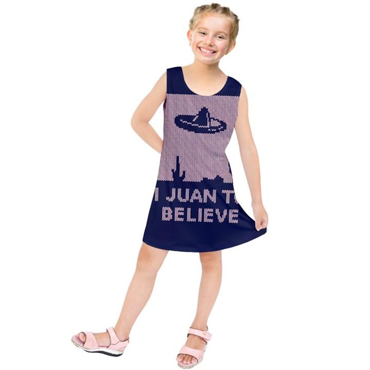 I Juan To Believe Ugly Holiday Christmas Blue Background Kids  Tunic Dress