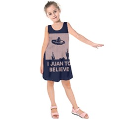 I Juan To Believe Ugly Holiday Christmas Blue Background Kids  Sleeveless Dress