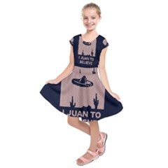 I Juan To Believe Ugly Holiday Christmas Blue Background Kids  Short Sleeve Dress