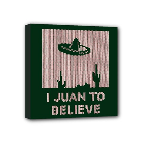 I Juan To Believe Ugly Holiday Christmas Green background Mini Canvas 4  x 4