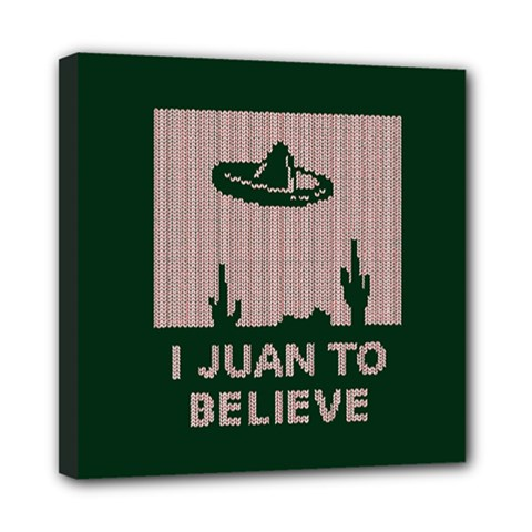 I Juan To Believe Ugly Holiday Christmas Green background Mini Canvas 8  x 8