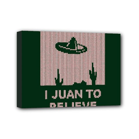 I Juan To Believe Ugly Holiday Christmas Green background Mini Canvas 7  x 5