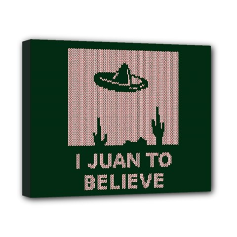 I Juan To Believe Ugly Holiday Christmas Green background Canvas 10  x 8