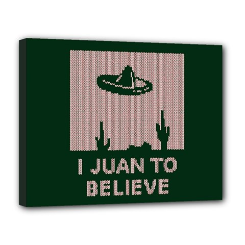 I Juan To Believe Ugly Holiday Christmas Green background Canvas 14  x 11