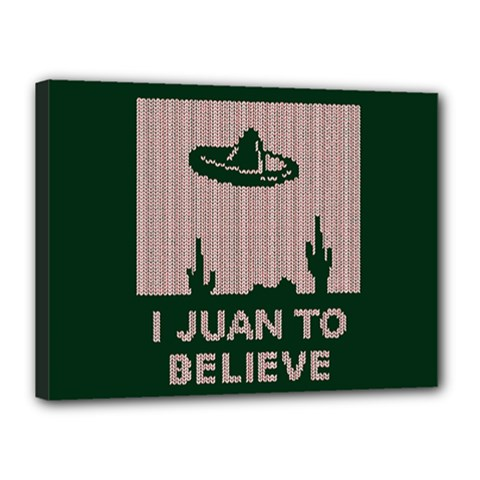 I Juan To Believe Ugly Holiday Christmas Green background Canvas 16  x 12