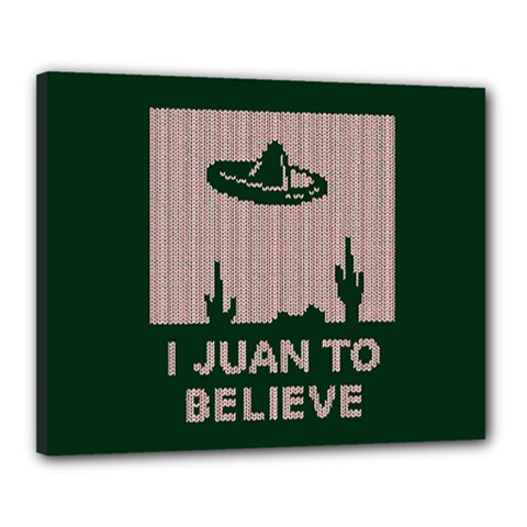 I Juan To Believe Ugly Holiday Christmas Green background Canvas 20  x 16