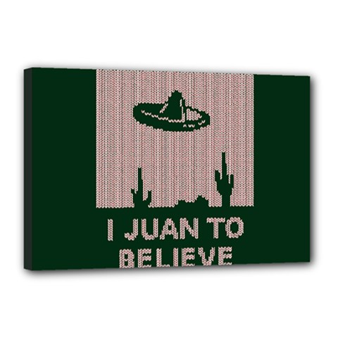 I Juan To Believe Ugly Holiday Christmas Green background Canvas 18  x 12