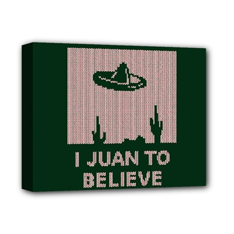 I Juan To Believe Ugly Holiday Christmas Green background Deluxe Canvas 14  x 11