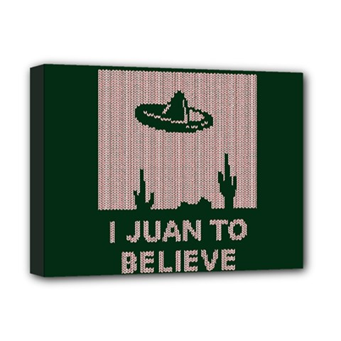 I Juan To Believe Ugly Holiday Christmas Green background Deluxe Canvas 16  x 12