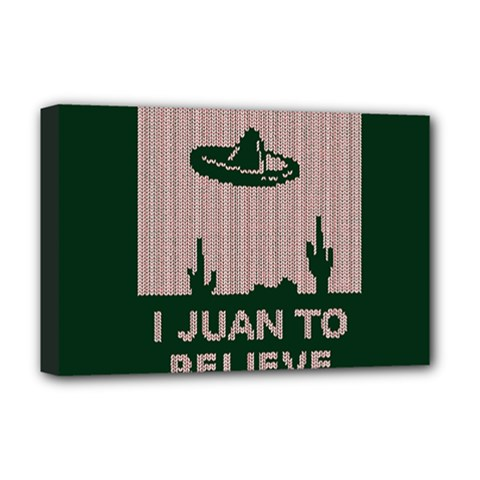I Juan To Believe Ugly Holiday Christmas Green background Deluxe Canvas 18  x 12