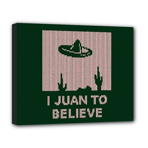 I Juan To Believe Ugly Holiday Christmas Green background Deluxe Canvas 20  x 16