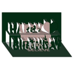 I Juan To Believe Ugly Holiday Christmas Green background Happy Birthday 3D Greeting Card (8x4)
