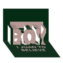 I Juan To Believe Ugly Holiday Christmas Green background BOY 3D Greeting Card (7x5)