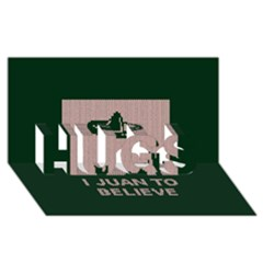 I Juan To Believe Ugly Holiday Christmas Green background HUGS 3D Greeting Card (8x4)