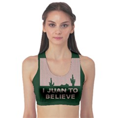 I Juan To Believe Ugly Holiday Christmas Green background Sports Bra