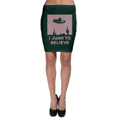 I Juan To Believe Ugly Holiday Christmas Green Background Bodycon Skirt