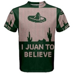 I Juan To Believe Ugly Holiday Christmas Green background Men s Cotton Tee