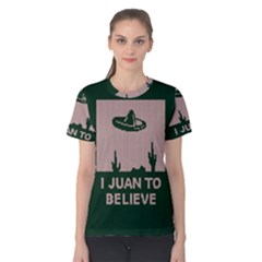 I Juan To Believe Ugly Holiday Christmas Green background Women s Cotton Tee