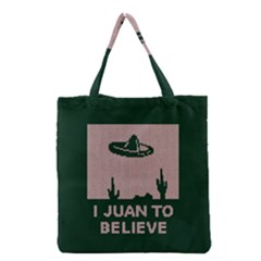 I Juan To Believe Ugly Holiday Christmas Green background Grocery Tote Bag