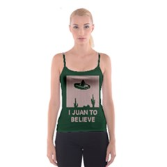 I Juan To Believe Ugly Holiday Christmas Green background Spaghetti Strap Top