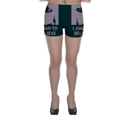 I Juan To Believe Ugly Holiday Christmas Green background Skinny Shorts