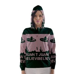 I Juan To Believe Ugly Holiday Christmas Green background Hooded Wind Breaker (Women)