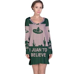 I Juan To Believe Ugly Holiday Christmas Green background Long Sleeve Nightdress