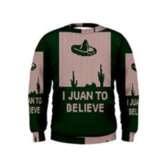 I Juan To Believe Ugly Holiday Christmas Green background Kids  Sweatshirt