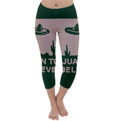 I Juan To Believe Ugly Holiday Christmas Green background Capri Winter Leggings