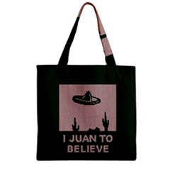 I Juan To Believe Ugly Holiday Christmas Green background Zipper Grocery Tote Bag