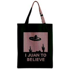 I Juan To Believe Ugly Holiday Christmas Green background Zipper Classic Tote Bag