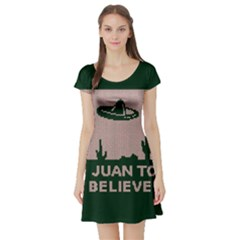 I Juan To Believe Ugly Holiday Christmas Green background Short Sleeve Skater Dress