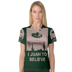 I Juan To Believe Ugly Holiday Christmas Green background Women s V-Neck Sport Mesh Tee