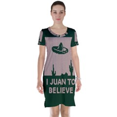I Juan To Believe Ugly Holiday Christmas Green background Short Sleeve Nightdress