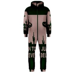I Juan To Believe Ugly Holiday Christmas Green background Hooded Jumpsuit (Men)